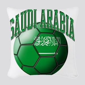 Flag of Saudi Arabia Soccer Ba Woven Throw Pillow