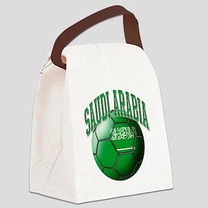 Flag of Saudi Arabia Soccer Ball Canvas Lunch Bag