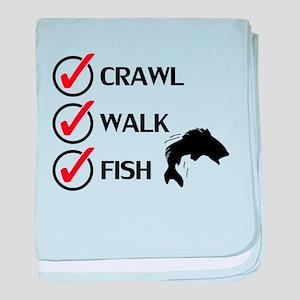 Crawl Walk Fish baby blanket