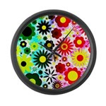 Red Green Flowers Pattern Large Wall Clock