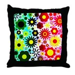 Red Green Flowers Pattern Throw Pillow