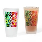 Red Green Flowers Pattern Drinking Glass