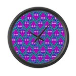 Purple Psychedelic Owl Pattern Large Wall Clock
