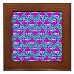 Purple Psychedelic Owl Pattern Framed Tile