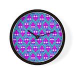 Purple Psychedelic Owl Pattern Wall Clock