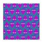 Purple Psychedelic Owl Pattern Tile Coaster