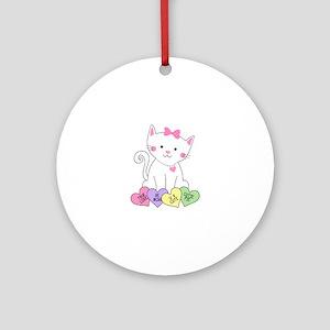 Valentine Kitty Ornament (Round)