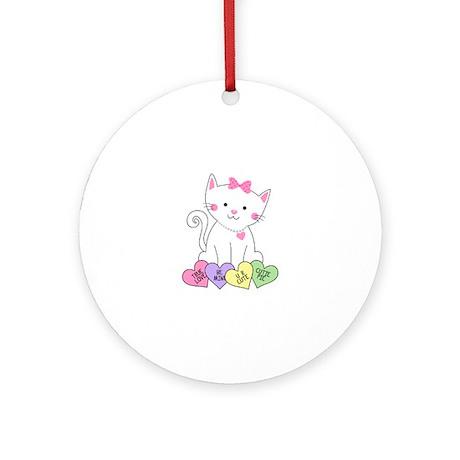 Valentine Kitty Ornament Round By Pinkinkart2
