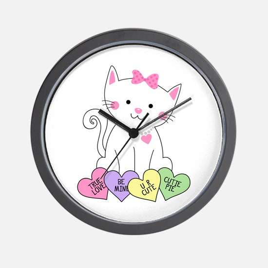 Valentine Kitty Wall Clock