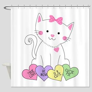 Valentine Kitty Shower Curtain