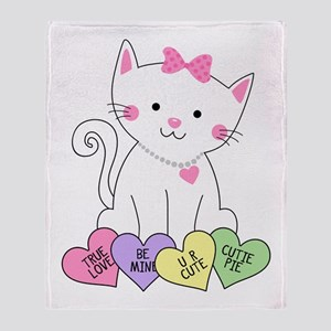 Valentine Kitty Throw Blanket