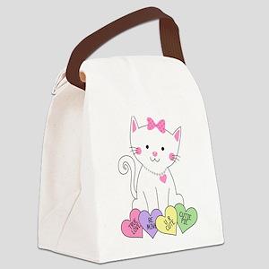 Valentine Kitty Canvas Lunch Bag