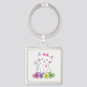 Valentine Kitty Square Keychain