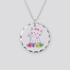 Valentine Kitty Necklace Circle Charm
