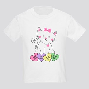 Valentine Kitty Kids Light T-Shirt