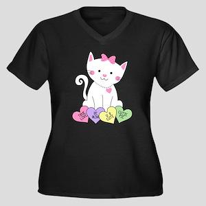 Valentine Ki Women's Plus Size V-Neck Dark T-Shirt