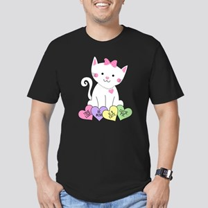 Valentine Kitty Men's Fitted T-Shirt (dark)