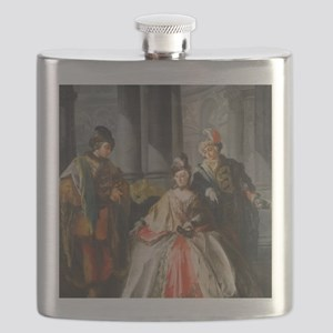 Three Figures Dressed for a Masquerade Flask