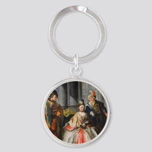 Three Figures Dressed for a Masquer Round Keychain