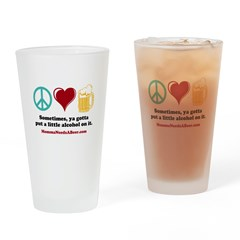 Peace, Love And Beer Pint Glass
