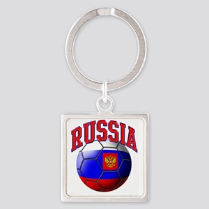 Flag of Russia Soccer Ball Square Keychain