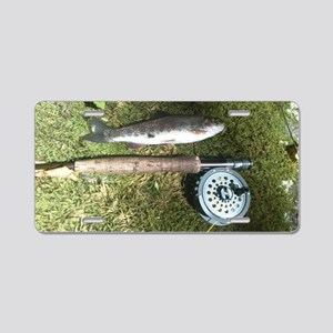 Rainbow trout and rod Aluminum License Plate
