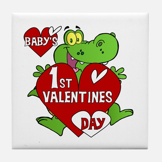 Crocodile 1st Valentines Day Tile Coaster