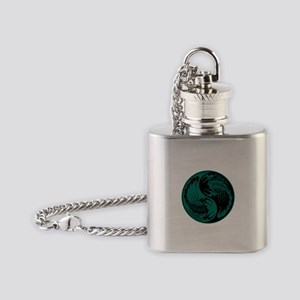 Teal Blue and Black Yin Yang Scorpions Flask Neckl