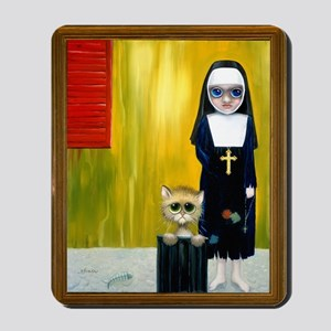 """Our Lady of the Garbage Can Kittens"" Mousepad"