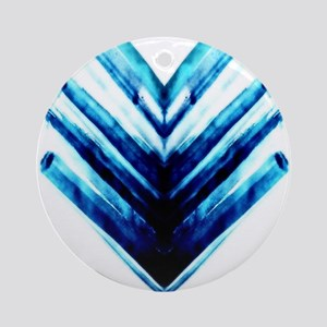 Chevron-Blue Round Ornament