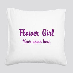 Flower Girl By Name Square Canvas Pillow