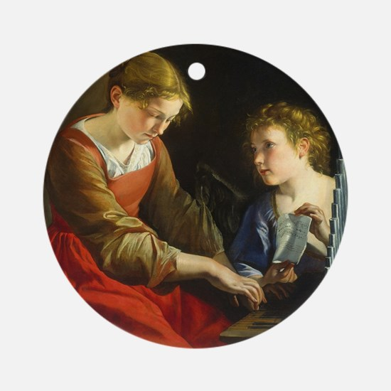 Saint Cecilia and an Angel Round Ornament