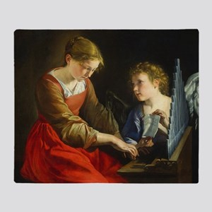 Saint Cecilia and an Angel Throw Blanket
