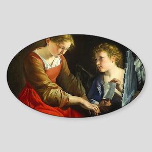 Saint Cecilia and an Angel Sticker (Oval)