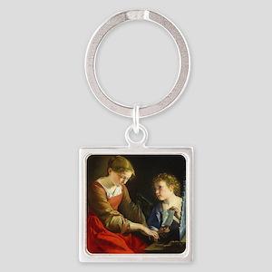 Saint Cecilia and an Angel Square Keychain