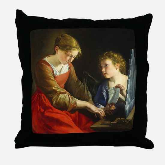 Saint Cecilia and an Angel Throw Pillow