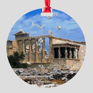 Acropolis Erechtheum Athens Greece Round Ornament