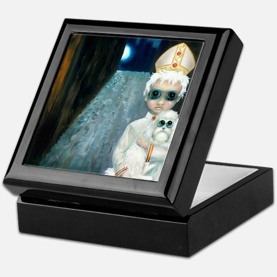 """The Pope as a Lad"" original painting Keepsake Box"