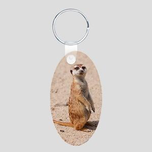 Meerkat Aluminum Oval Keychain