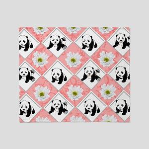 Panda Bears on Checker Design Throw Blanket