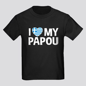 I Love My Papou Kids Dark T-Shirt