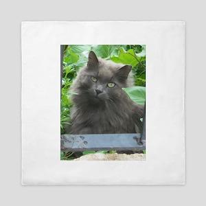 Long Haired Russian Blue Cat Queen Duvet