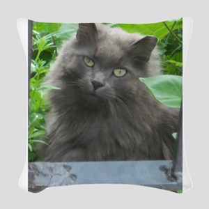 Long Haired Russian Blue Cat Woven Throw Pillow