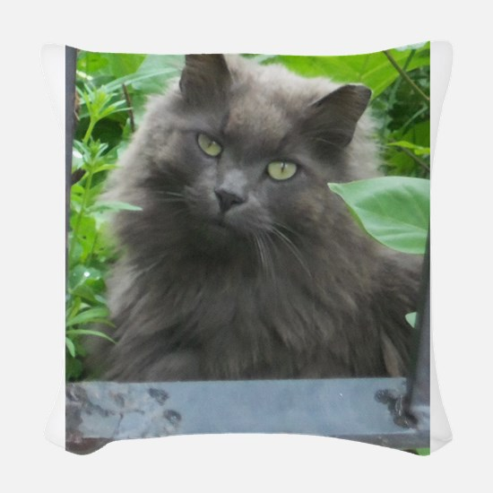 Long Haired Russian Blue Cat Woven Throw Pillow