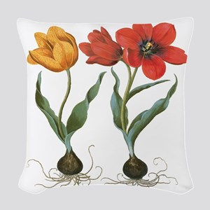 Vintage Tulips by Basilius Bes Woven Throw Pillow
