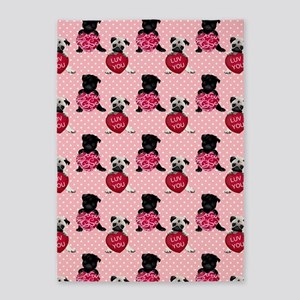 Sweet Black and Fawn Valentine Pugs 5'x7'Area Rug