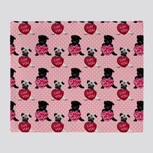 Sweet Black and Fawn Valentine Pugs Throw Blanket