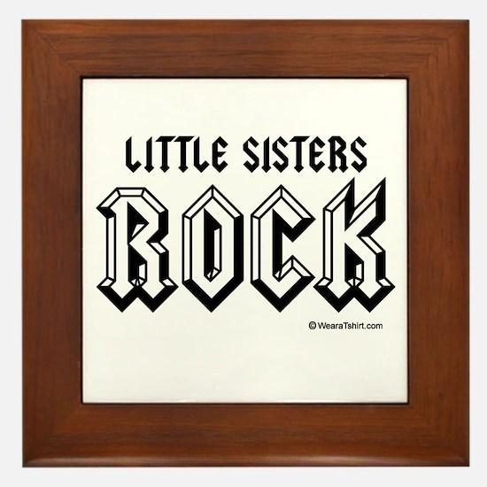 Little sisters rock / Baby Humor Framed Tile