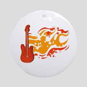 Flame Guitar Ornament (Round)
