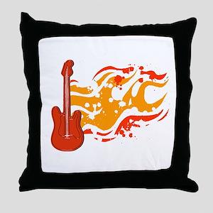 Flame Guitar Throw Pillow
